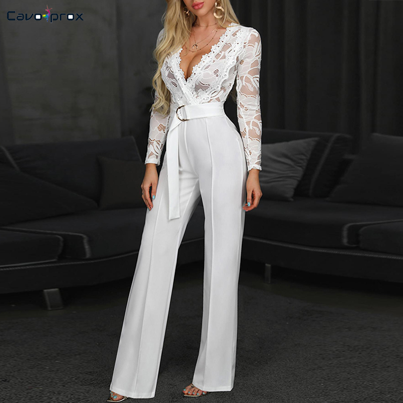 Women Plunge V-neck Lace Bodice Insert Bodycon Wide Leg   Jumpsuit   Solid Casual Elegant White Long Sleeve   Jumpsuits