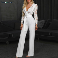 Women Plunge V neck Lace Bodice Insert Bodycon Wide Leg Jumpsuit Solid Casual Elegant White Long Sleeve Jumpsuits