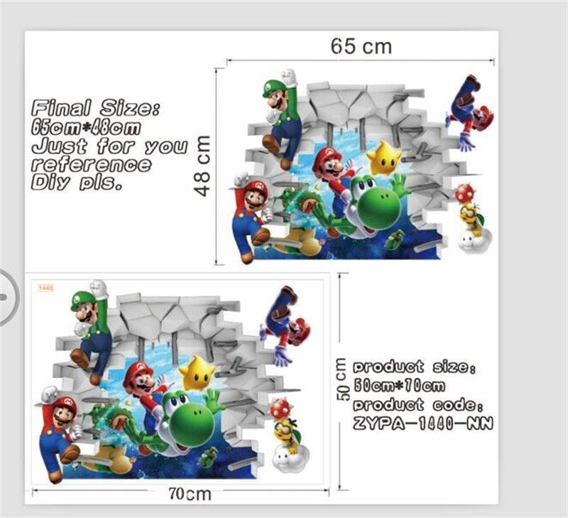 ᗑVenta caliente nuevo Super Mario Bros Boy Kids Room Nursery Art ...
