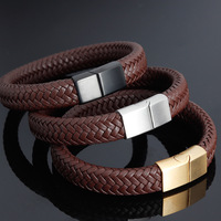 Punk Brown Pure Leather Bracelets for Man Gold Silver Black Matte 316L Stainless Steel Clasp Woman Braid Rope Wristband