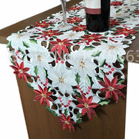 10Pcs 178cm*38cm Luxury Embroidered Table Runners Wedding Holly and Poinsettia Wedding Table Decoration AA8235 2