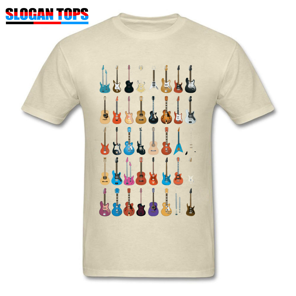 Custom 3D Printed T-shirts 2018 Summer Short Sleeve Round Neck T Shirt Cotton Fabric Men Normal T Shirts Drop Shipping Love Guitar Different Guitars Music Lover Funn beige