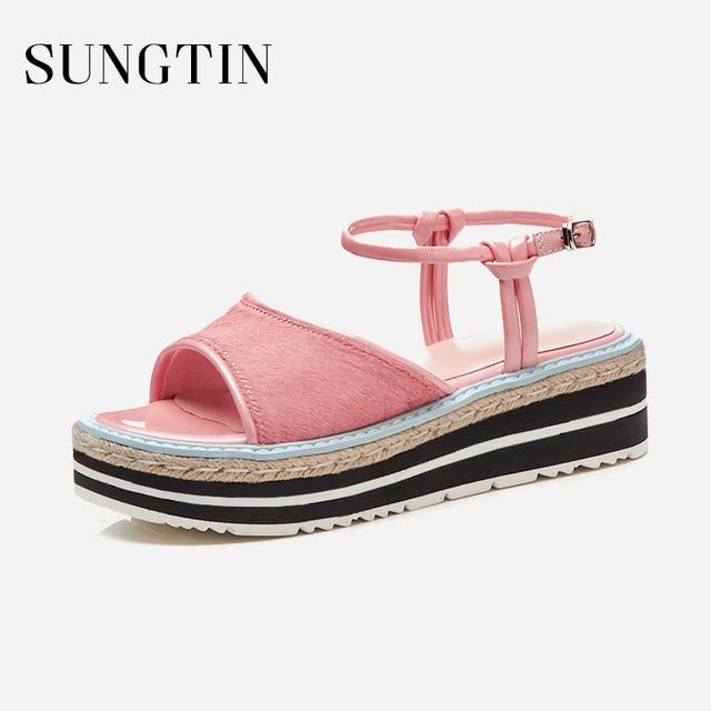 Sungtin Sweet Ankle Strap Flat Platform Sandals Women Espadrilles Shoes  Summer Lady Handmade Casual Flats Sandals 659c89ccdaa3