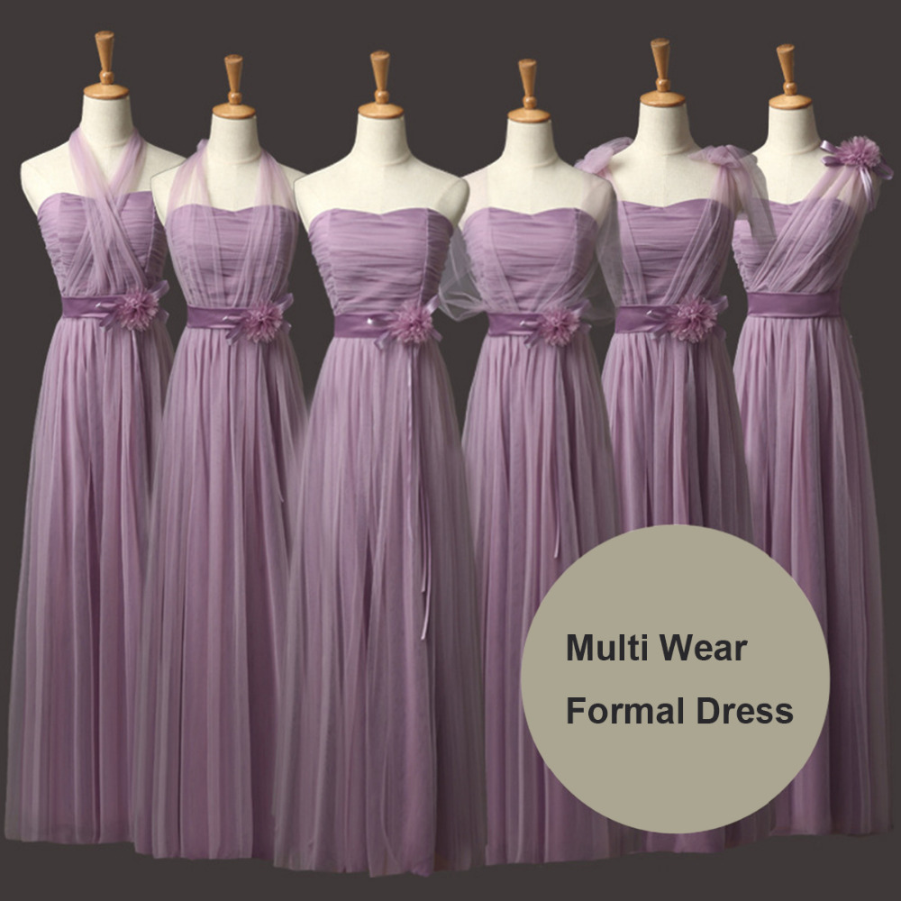 Light Purple Women Bridesmaid Formal Dresses Convertible Dress Multi ...