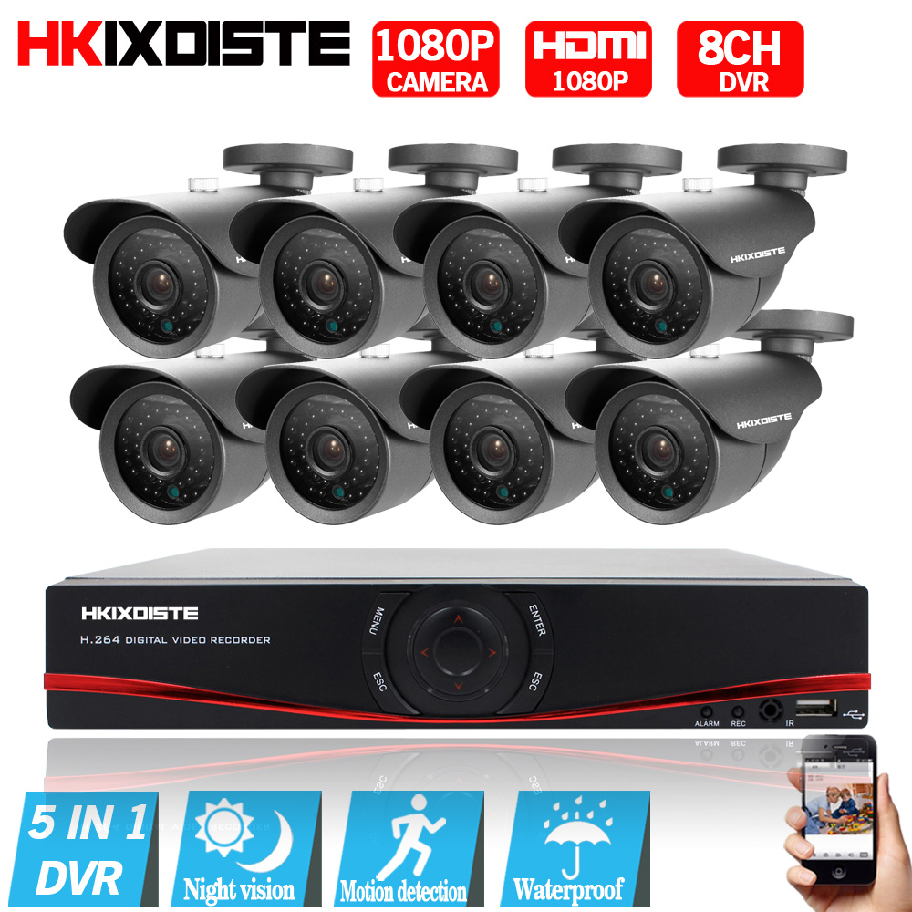 HD 8CH CCTV System 1080P HDMI DVR AHD 1080P CCTV Security Camera 8PCS 2.0MP IR Outdoor Waterproof camera Video Surveillance kit white bullet hd camera 8pcs 900tvl security outdoor waterproof camera 8ch ahd 1080p 960h cctv system 3g wifi dvr kit hdmi 1080p