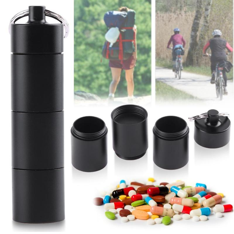 цена на Outdoor Portable Waterproof Outdoor Medicine Pill Container Aluminum Case Keychain Metal Waterproof Box Case Container