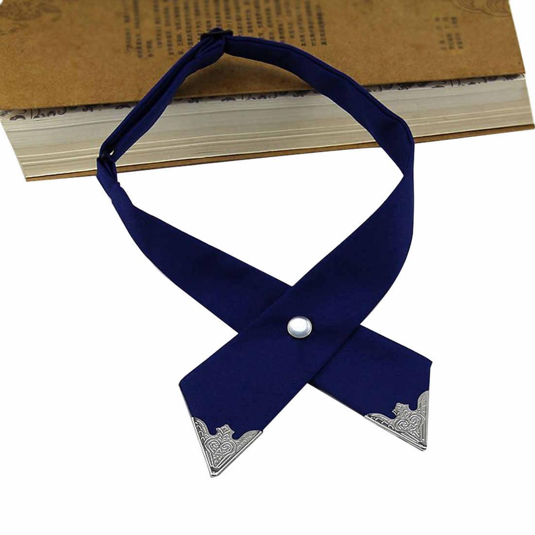 Очаровательные галстуки с перекрестными бантиками для мужчин и женщин, однотонные, деловые, повседневные, крестообразные, формальные, мужские, свадебные, с металлическим воротником, с бантом