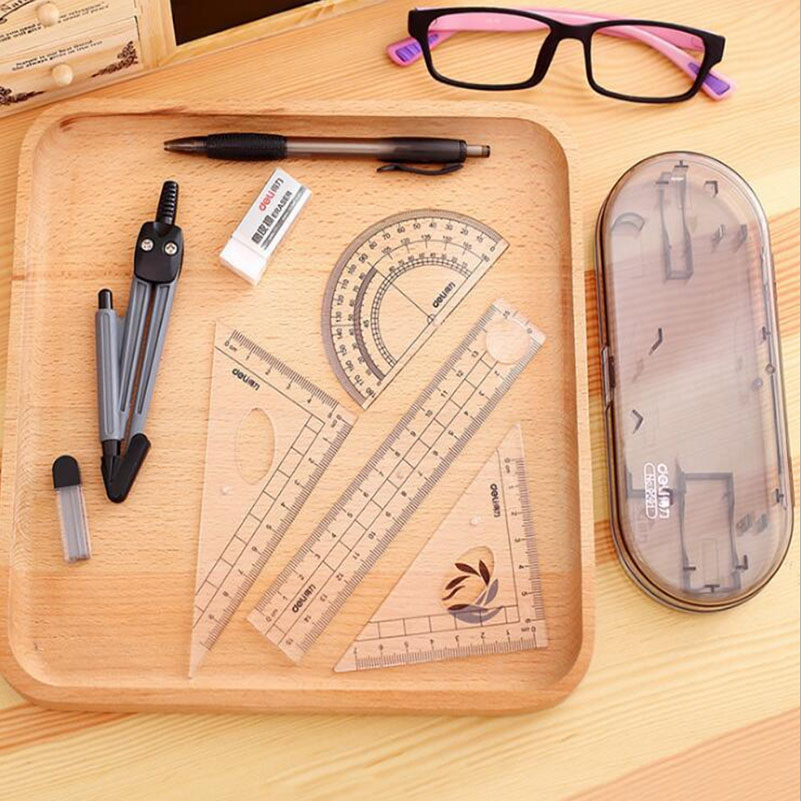 Deli 8 Pcs Ruler Compasses Set Triangle Ruler Eraser Protractor Multifunctional Math for Students School Supplies