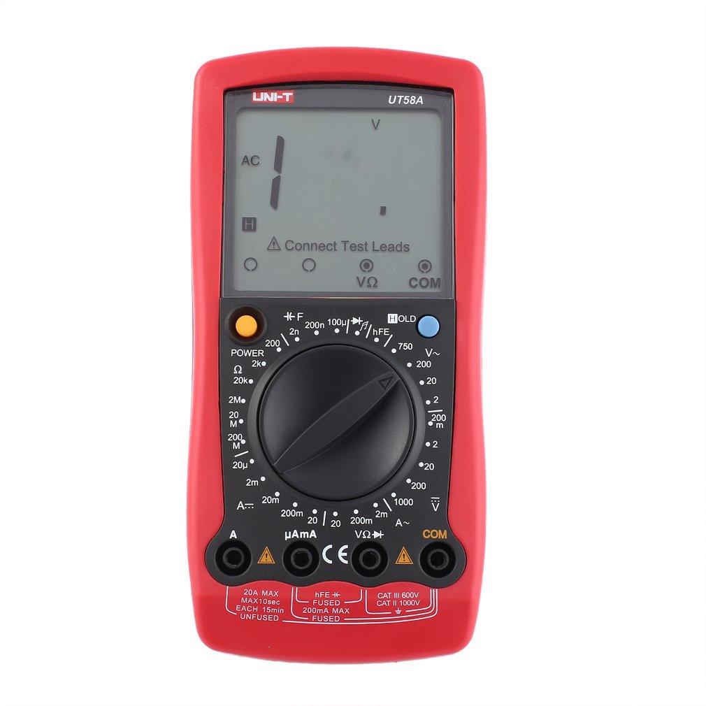 Multimètre numérique d'unité DC/AC tension compteur de courant ampèremètre portatif Ohm Diode testeur de capacité 1999 comptes multitesteur UT58A