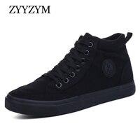 ZYYZYM Men Canvas Shoes Spring Autumn 2018 Lace Up High Style Black Fashion Flats Youth Students