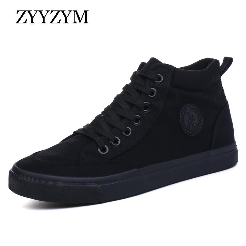 ZYYZYM Men Canvas Shoes Spring Autumn 2018 Lace-up High Style Black Fashion Flats Youth  ...