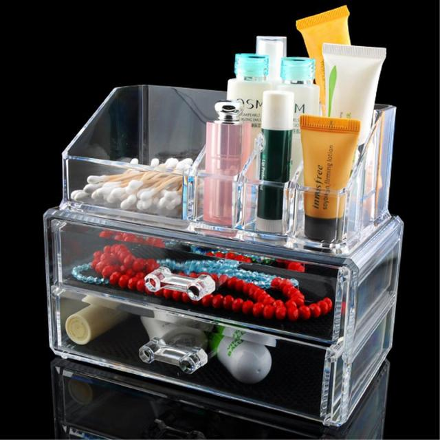 2017 Cheap Sale+High Quality Acrylic Clear Cosmetic Organizer Make Up Case Lipstick Brush Holder 2 Drawers