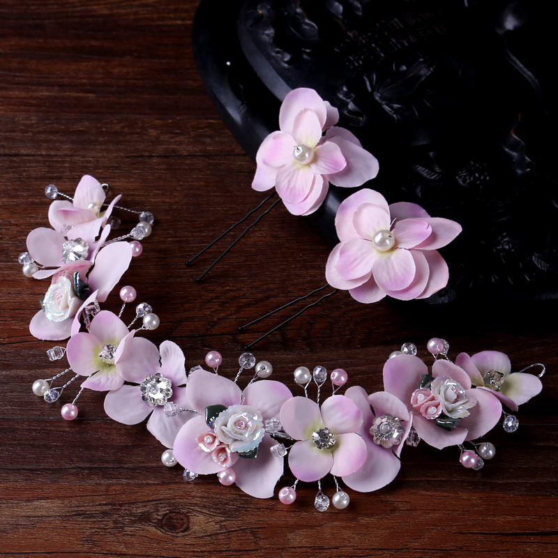 Women Artificial Flower Headband Hair Crown With Hairpins For Ladies Wedding Hair Accessories Summer Holiday Beach Christmas Day