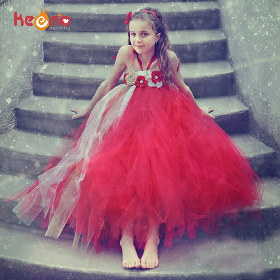 Keenomommy Girls Flower Tutu Dress with Headband Pageant Baby Holiday Dress Red Christmas Wedding Recital Costume TS106 exactly as pic red gold flower wedding girls dresses with shining flower headband pearls christmas party dress for girls pt93