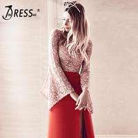 INDRESSME O Neck Flare Sleeve A Line Ankle Length Women Bandage Party Dress Sexy Lace Spit