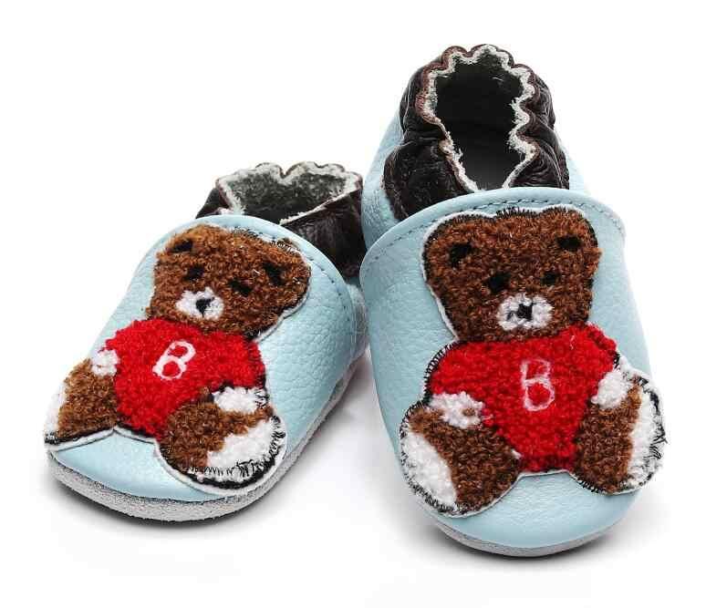 Echte Koe Lederen baby Mocassins Zachte Zolen Peuters Baby Baby Schoenen Jongens Meisjes Pasgeboren Babyschoenen kerstcadeaus