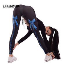 CHRLEISURE Push Up Femmes Leggings Polyester Taille Haute Pantalon Fesses  Bowknot Impression Mince Respirant Sexy Remise 0a58453c7281