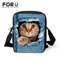 FORUDESIGNS Women Messenger Bags Jeans Black Cat Crossbody Bag Designer Bolsos Mujer Ladies Small Shoulder Bags Girls Handbags