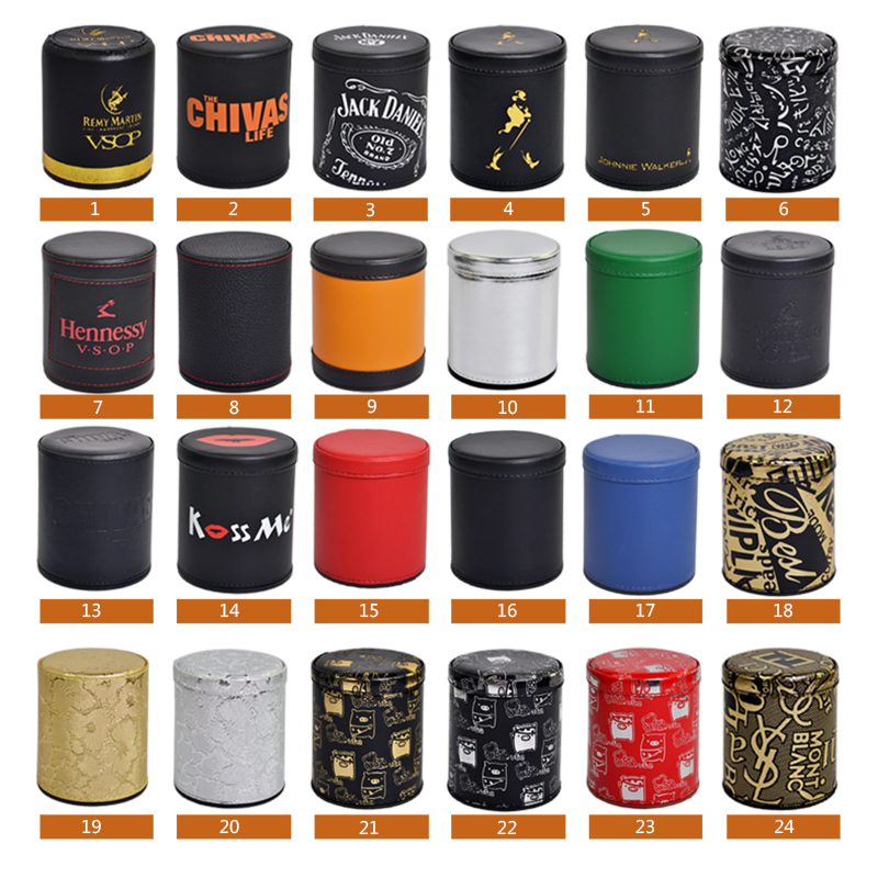 KTV Bar Gambling Casino Texas Poker Game Printing Leather+Plastic Dice Cup Set Without Lid& 6pcs Digital White/Acrylic Dices