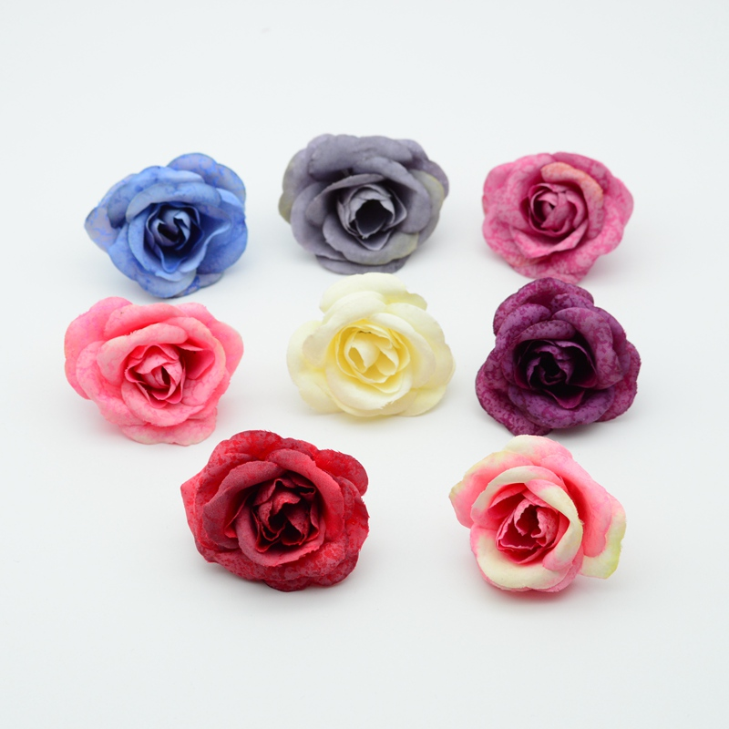 10pcs Artificial flowers cheap for wedding home decor accessories christmas garland fake plastic scrapbook diy gifts Silk roses