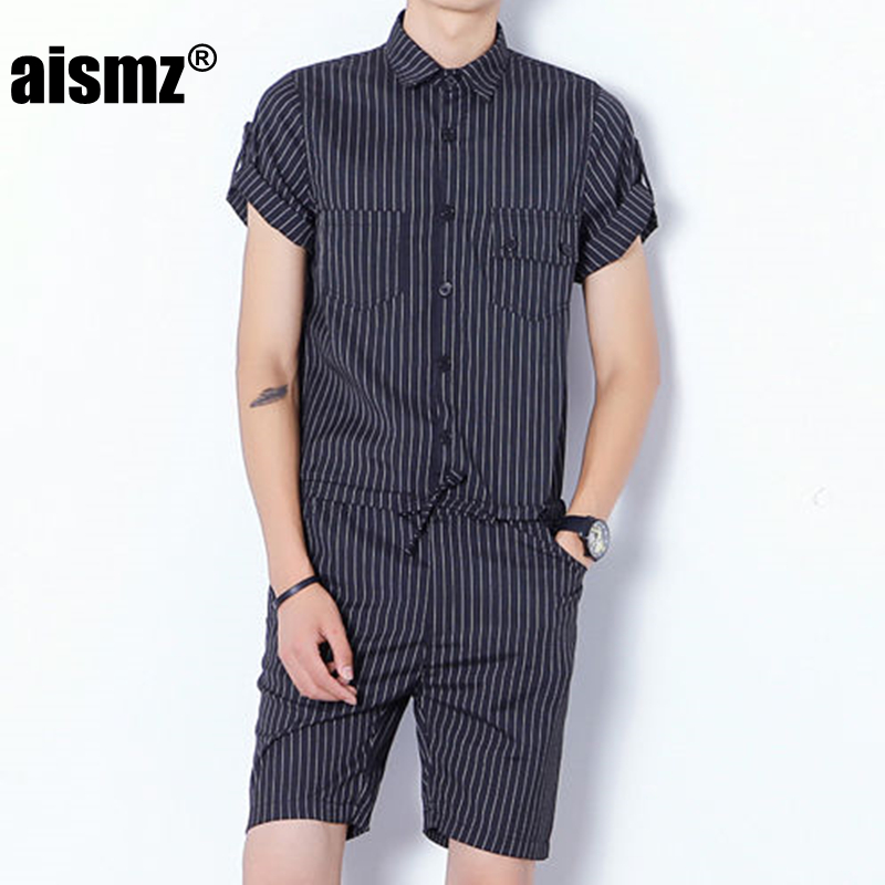 Aismz Fashion Mens Rompers Short Sleeve Male Stretch Slim Fit Jumpsuit Cool Cargo Short Single Breasted Tops Trousers Overalls