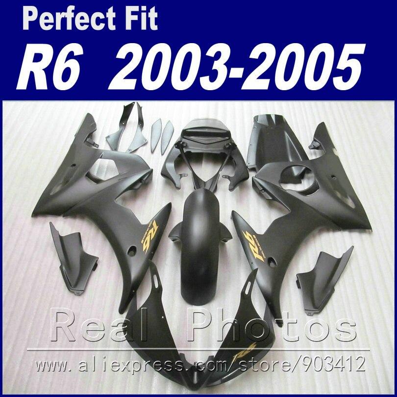 Marque nouvelle moto pièces pour YAMAHA R6 carénage kit 2003 2004 2005 noir mat Carénage YZF carénages 03 04 05
