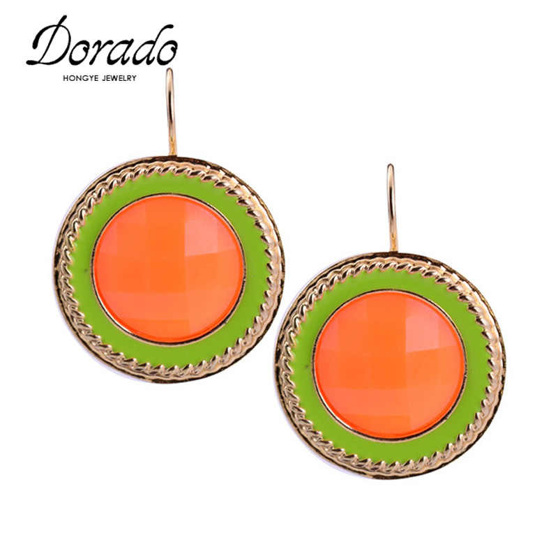 Round Resin Drop Earrings For Women Girls Gold Silver Color Alloy Female Hanging Dangle Earring Fashion Ear Jewelry Brincos