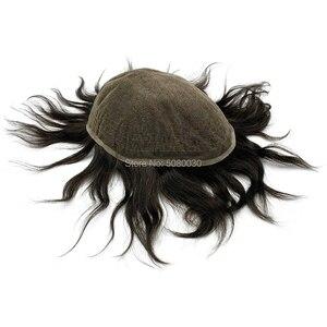 Image 2 - Männer spitze perücke volle schweizer spitze mann perücke menschliches haar gebleichte knoten kostenloser versand