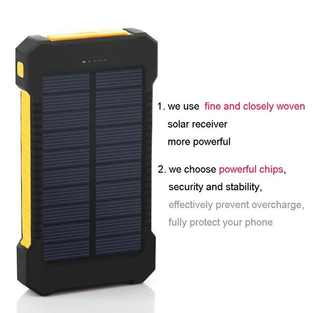 Solar Power Bank Dual USB Travel Power Bank 20000 mAh Batteria Esterna Caricatore Portatile Bateria Externa Pack Verde