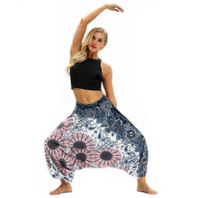 Women Dance Yoga long Pants Bohemia Full Length Bloomers Elastic Waist Loose Big Crotch Workout Free Size Female Travel Pants(China)