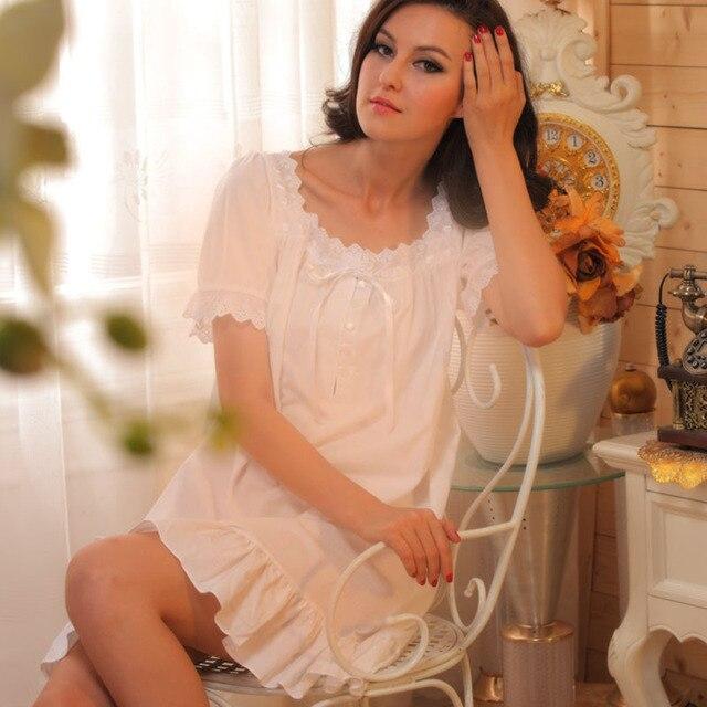 0b6bb859070e1ea Женщины трусы мода лето коротким рукавом королевский принцесса ночной  рубашке хлопка vintage молодая девушка белый плюс