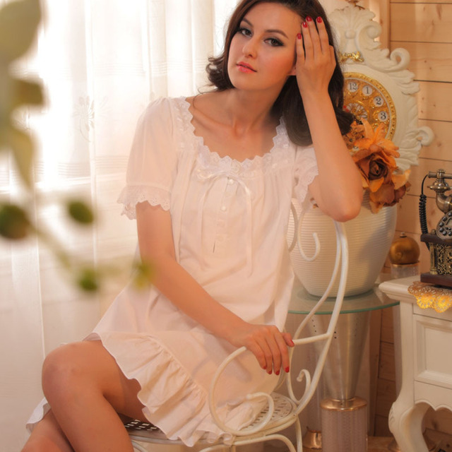 4dd391a6ca women sleepshirts fashion summer short-sleeve royal princess nightgown  cotton vintage young girl white plus