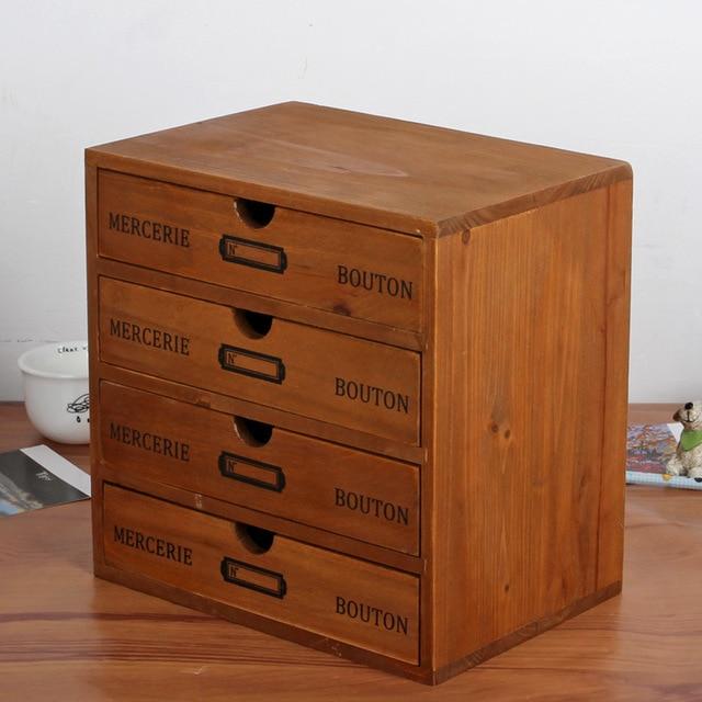Holz Aufbewahrungsbox 4 Schichten Schublade Schreibtisch Retro ...