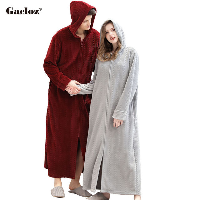 Gacloz Lovers Hooded Bathrobe Plus Size Flannel Sleepwear Winter Zip Robe Women Men Long Nightgown Bath Robe badjas