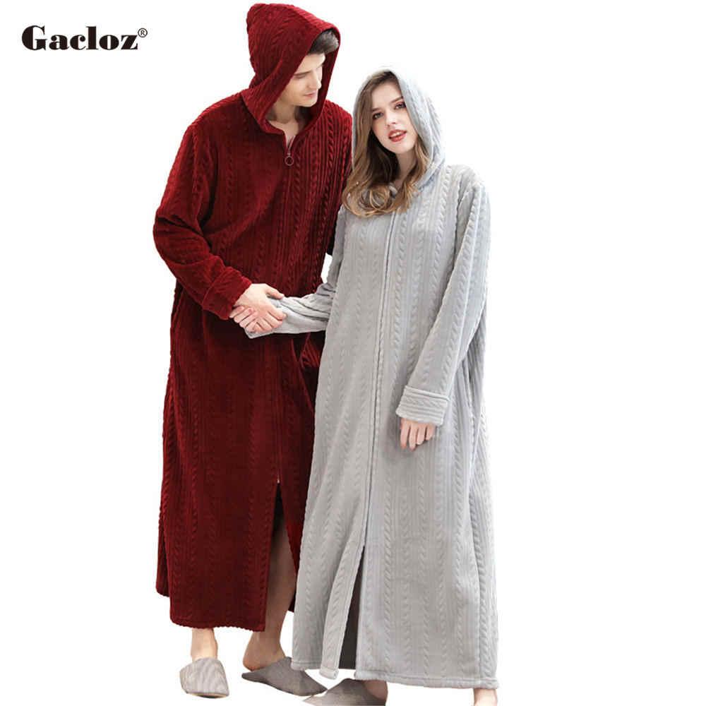 Gacloz 愛好家フード付きバスローブプラスサイズフランネルパジャマ冬ローブ女性男性ロングネグリジェバスローブ badjas