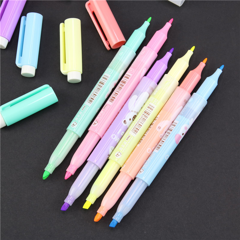 6 Pcs New Cartoon Cute Creative Focus Stud Highlighter Marker Pen Marker Office School Supplies Baby Gift