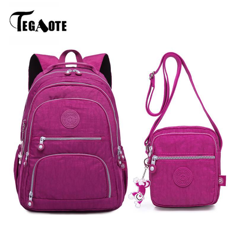 TEGAOTE 2pcs Set Women Backpack Schoolbag for Teenage Girls Back Pack Shoulder Bag Nylon Composite Travel