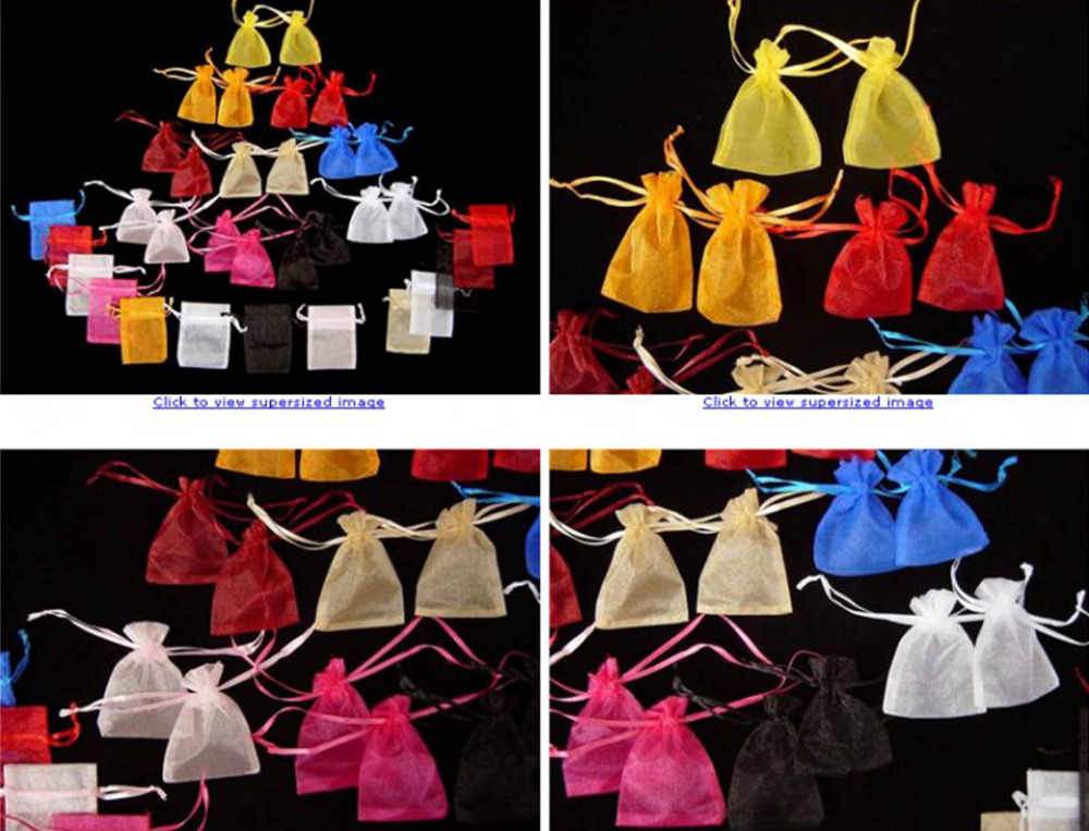 Omh atacado 10pcs7x9,10x12,10x15,11x16,15x20,17x23,13x18cm mix natal embalagem sacos jóias voile presente saco BZ08-20