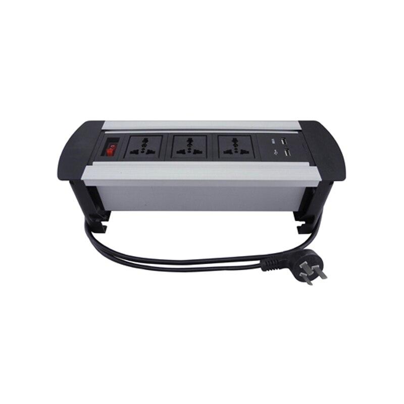 Multifonctionnel nouvelle prise de bureau électrique à retournement manuel 3 prises universelles + 2 chargeur USB + 1 interrupteur Rotation de 180 degrés