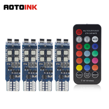 AOTOINK T10 W5W RF Control RGB Led Car Clearance Lights LED 194 168 Bulb Remote Interior Dome  License Plate Light EJ