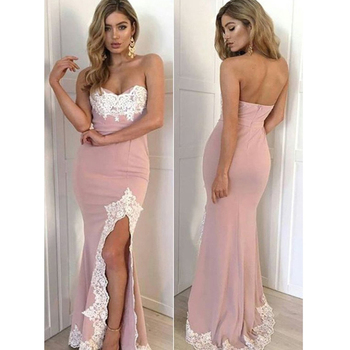 Sexy 2019 Prom Dresses Mermaid Sweetheart Appliques Lace Slit Long Prom Gown Pink Evening Party Dress Robe De Soiree