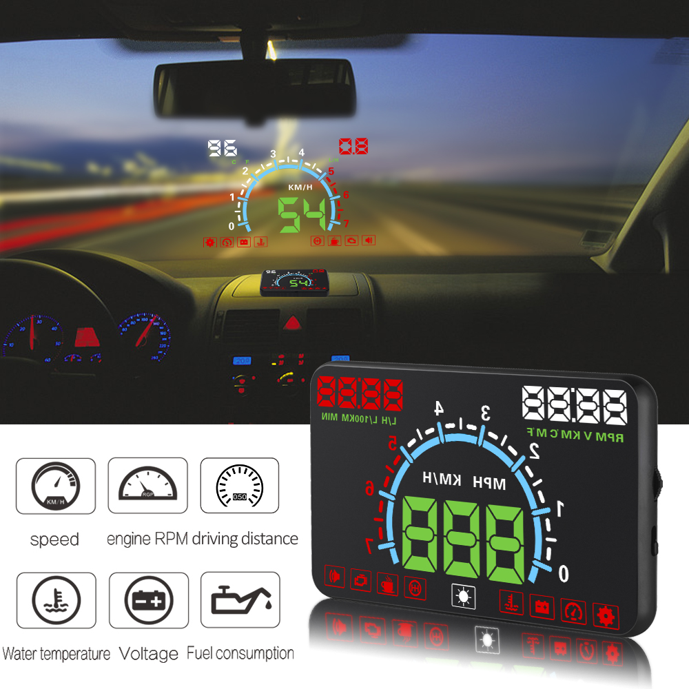 E350 HUD Car Head Up Display 5.8 inch Windscreen Projector OBD2 EUOBD Car Driving Data Diagnosis Speed Warning Fuel Consumption glcc car hud head up display h400 white led auto windscreen projector available for cars with obd2 and euobd