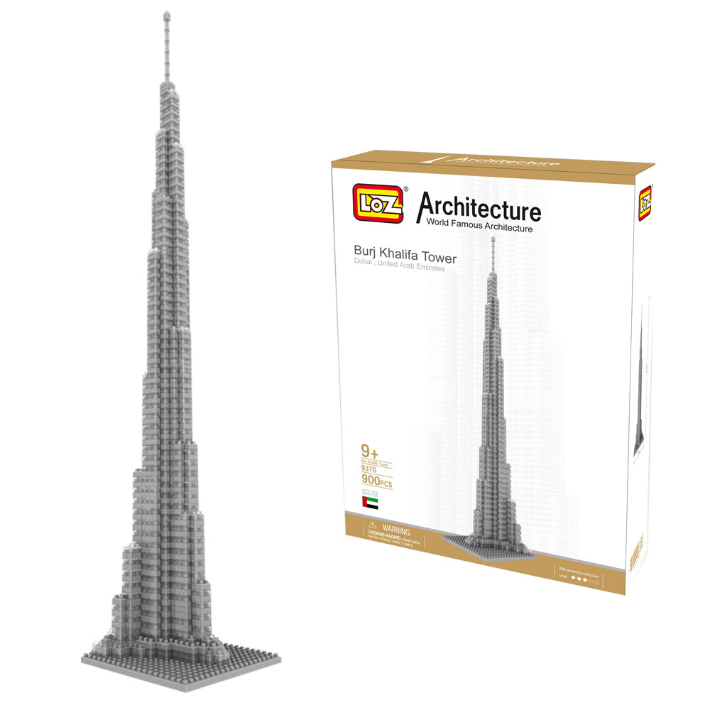 LOZ World Famous Architecture Mini Diamond 3D Building Block Dubai United Arab Emirates Burj Khalifa Tower Model Toys 890Pcs loz mini diamond building block world famous architecture nanoblock easter island moai portrait stone model educational toys