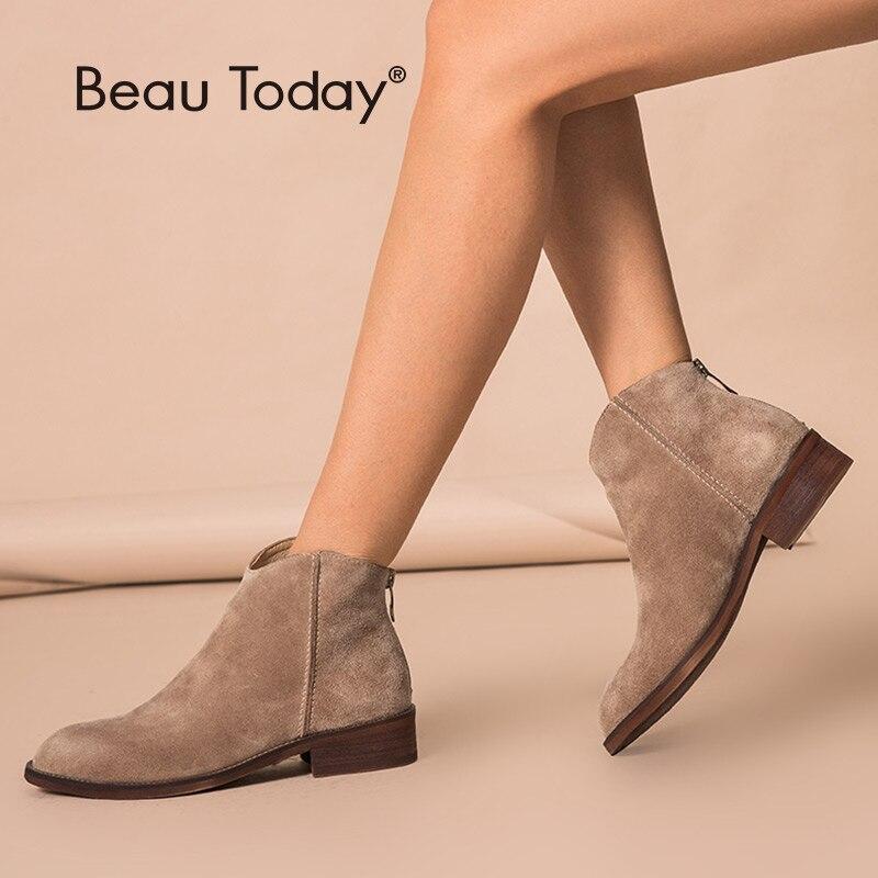 Beautoday tornozelo botas de couro genuíno qualidade superior zíper outono inverno moda senhora vaca camurça sapatos feitos à mão 03274