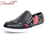 FACNDINLL Women Casual Shoes Round Toe Ballerinas Flats Fashion Designer Shoes Ladies Embroider Leather Ballet Flats