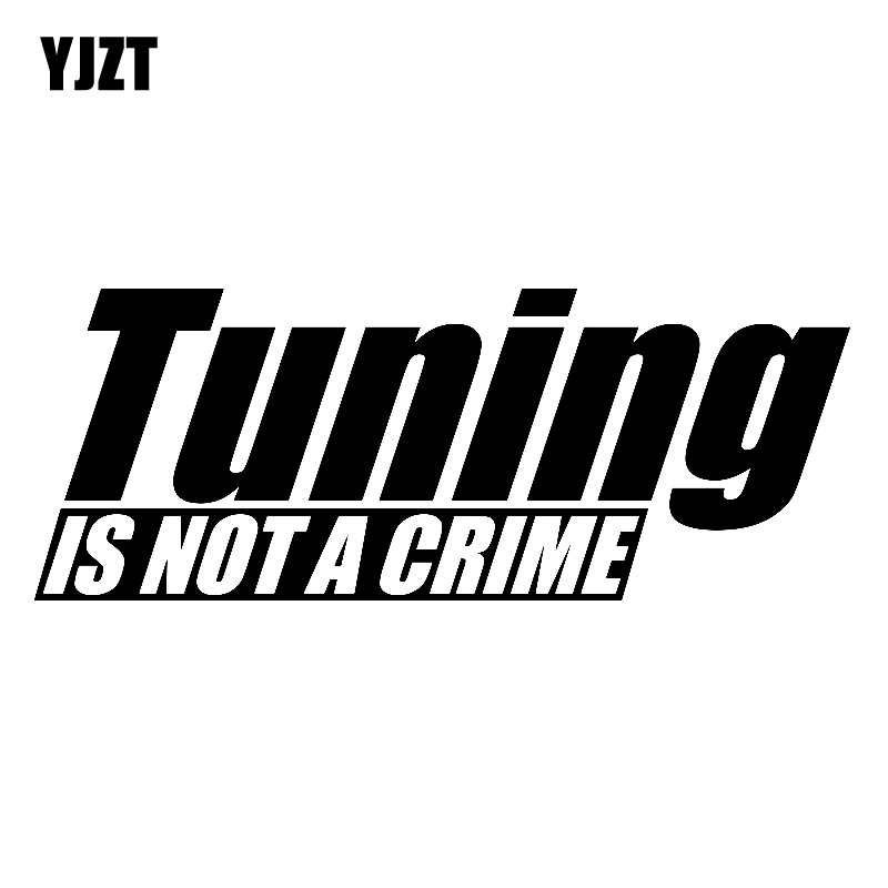 YJZT 15.8CM*6CM Fun Car Styling Motorcycle Vinyl Car Sticker TUNING IS NOT CRIME Decal Black Silver C11-1420