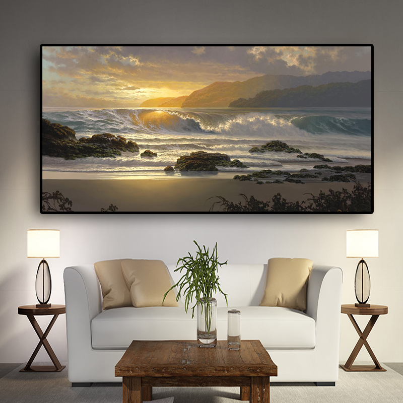 Sunset Beach Landscape Wall Art Canvas Scandinavian Posters And Prints Sea Wave Seascape Modern Wall Picture For Living Room