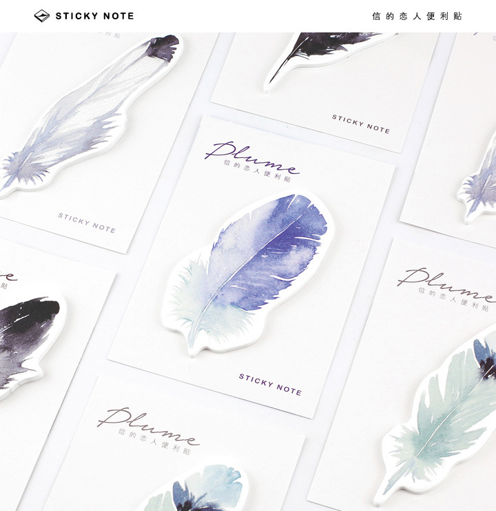 30Pcs/Pack Feather Nature Plume Gorgeous Post It N Times Irregular Memo Pad Notebook Student Sticky School Label Gift M0159