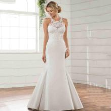 Elegant Mermaid Wedding Dress Satin Fabric Lace Appliqued Halter Neck Bridal Gown With Tail Suknia Slubna