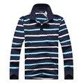 Envío libre de los hombres bolsillos de solapa de cuero etiqueta diseño hombres camiseta POLO de los hombres de algodón de manga larga pullover tops de los hombres